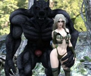 Fantasy Scene - Elf With Wolfman