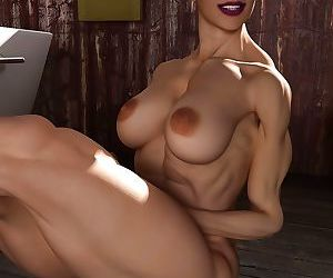 Nice female bodybuilder poses nude before taking a bath -..