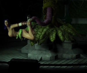 3d busty babe gets hard fucked by a plant with big..