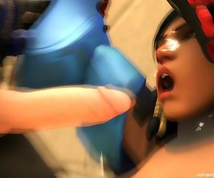 OverWatch Pharah Sucks Huge Cock And Swallows Cum