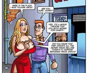 Comics Charity couple- Interracial, group  interracical
