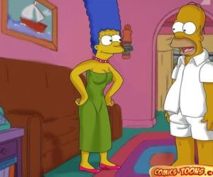 Comics The Simpsons- Lustful Homer and Marge, family , threesome  All