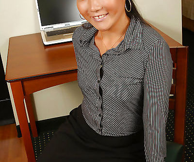 Amateur Asian secretary Miki..