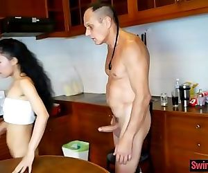 Cheating Thai wife fucks husband..