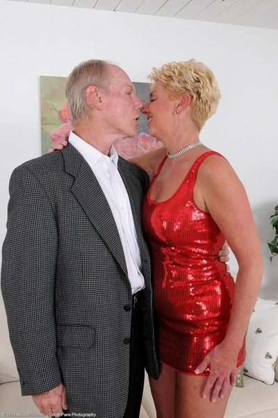 Blonde mature gets banged by an old dude