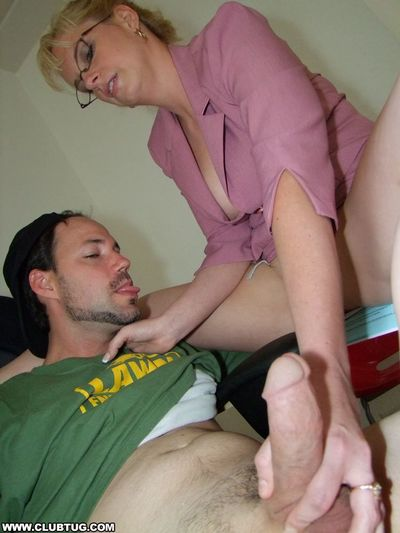 Smoking mature blonde in glasses gets a cumshot on her big tits - part 2