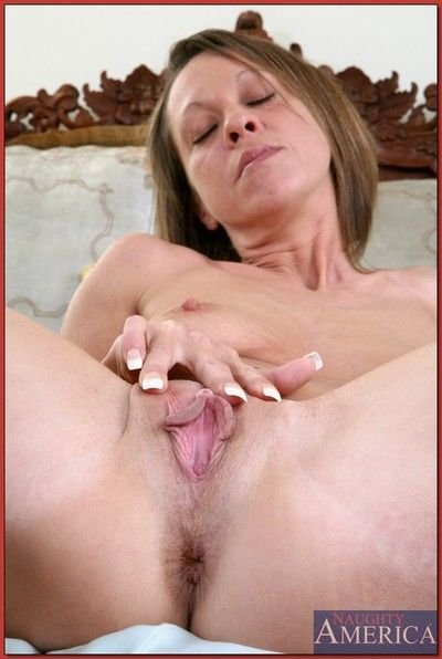 Horny mom with tiny tits spreading her holes and gets them drilled