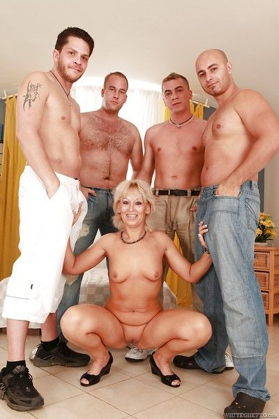 Filthy mature blonde Samantha White gets screwed hardcore by four naughty guys