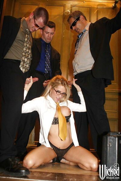 Horny office babe in glasses Jessica Drake gets blowbanged by three guys - part 2
