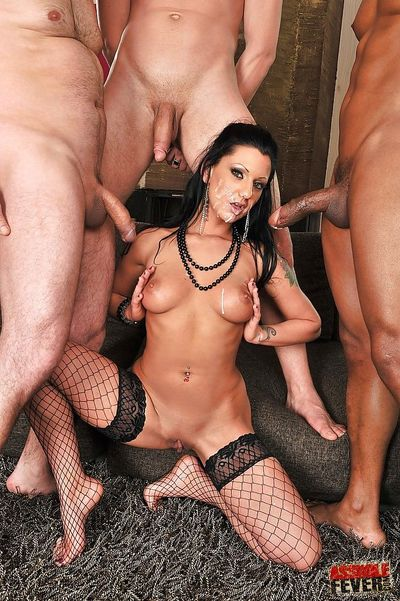 Graceful MILF in fishnets has some interracial blowbang fun with hung guys - part 2