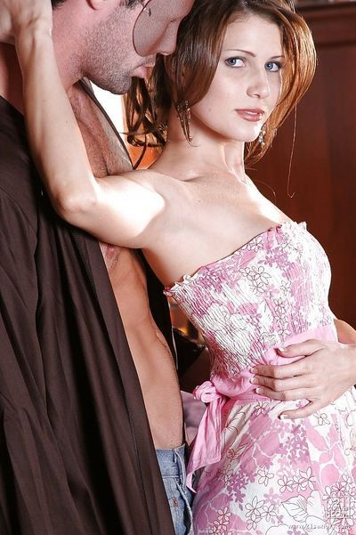 Magical brunette hussy Jenni giving a deep and passionate blowjob