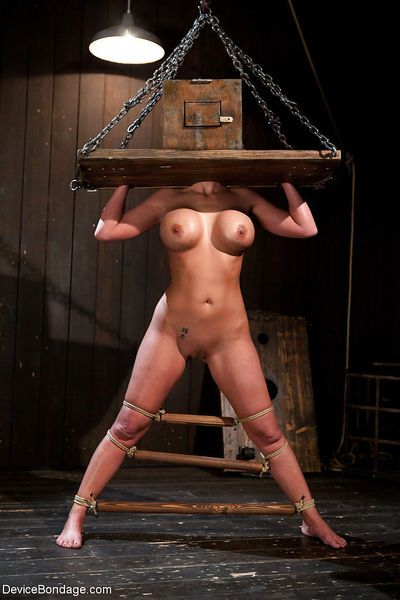 Chesty MILF Phoenix Marie taking fisting with bondage box on head