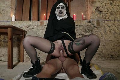 European female getting nailed while wearing creepy Nun costume - part 2