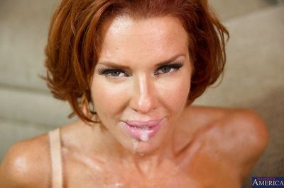 Hot redhead cougar seduces and fucks a guy for some tasty jizz - part 2