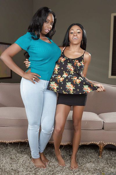 Ebony lesbians Anya Ivy and Codi Bryant have sex with each other