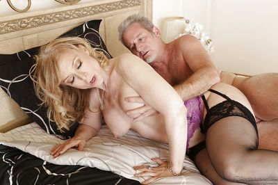 Mature blonde Nina Hartley gets banged and takes a cumshot on her rack