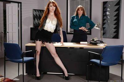 Older and younger secretaries Darla Crane and Gwen Stark strip at work