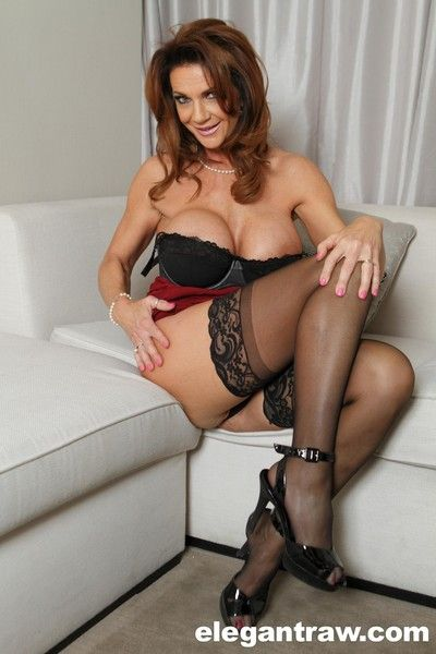 Big tits brunette milf solo stockings