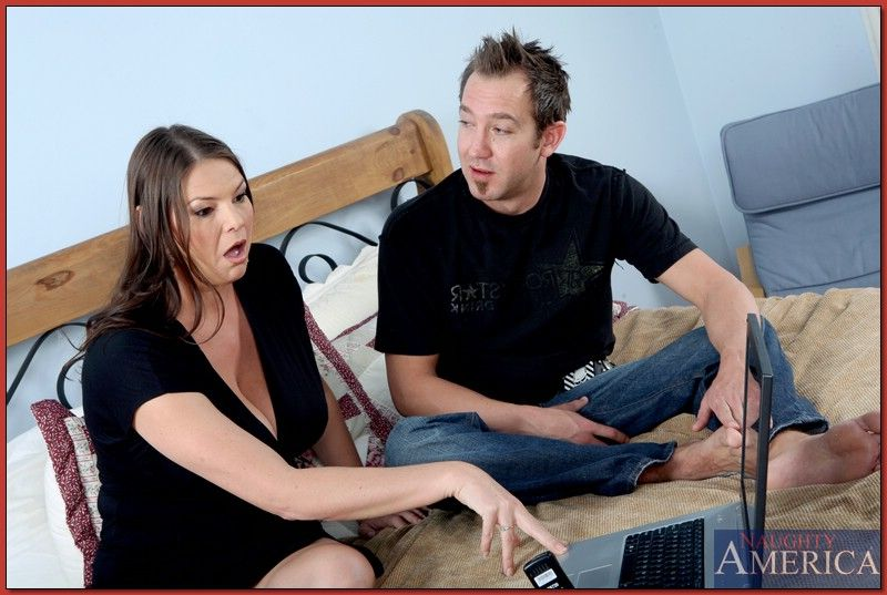 Fat mom Carrie Moon uncovers big boobs while riding a hard cock