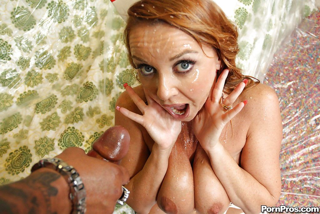 MILF babe in uniform Janet Mason gets banged with splashes of bukkake - part 2