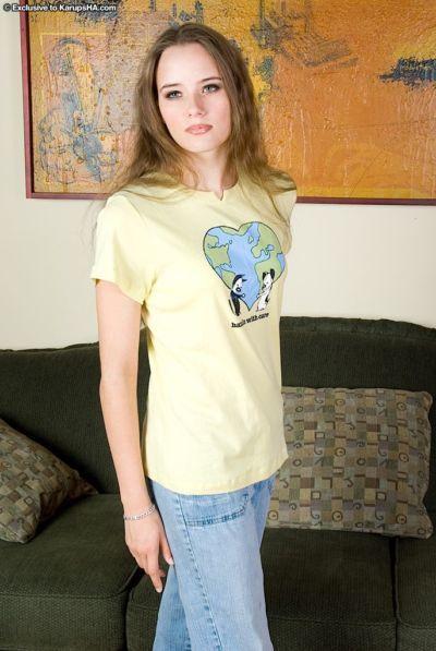 Slender slut Nikki is demonstrating her tight ass under her jeans