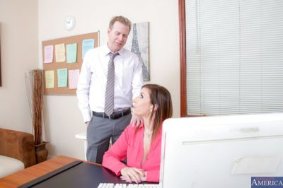 Clothed milf Sara Jay is fucking with her boyfriend in the office