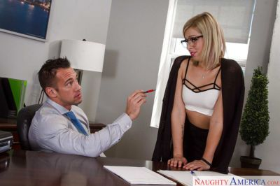 Office slut Zoey Monroe taking cum on glasses adorned face at work