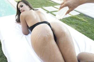 Latina slut Kelsi Monroe has her oiled ass fucked in an anal sex action