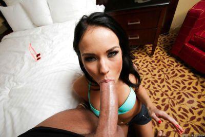 Hot young chick Megan Rain giving monster dick a POV blowjob