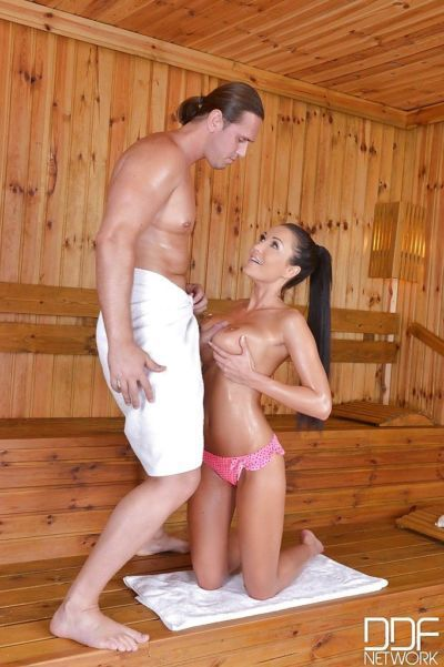 Busty brunette bombshell Patty Michova getting her big wet tits fucked