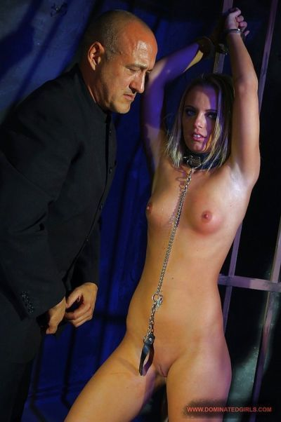Submissive girl with shaved slit gets involved into rough BDSM action