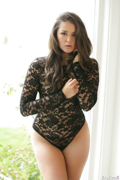 Brunette Allie Haze shows off her super sexy lingerie and booty