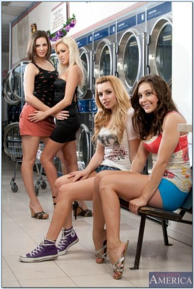 College sluts demonstrating their hot bootys and hooters in the laundry