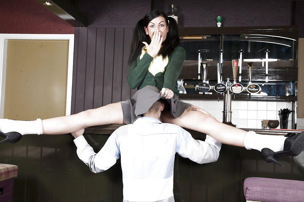 Leggy European schoolgirl Gina Jameson taking hardcore sex in socks