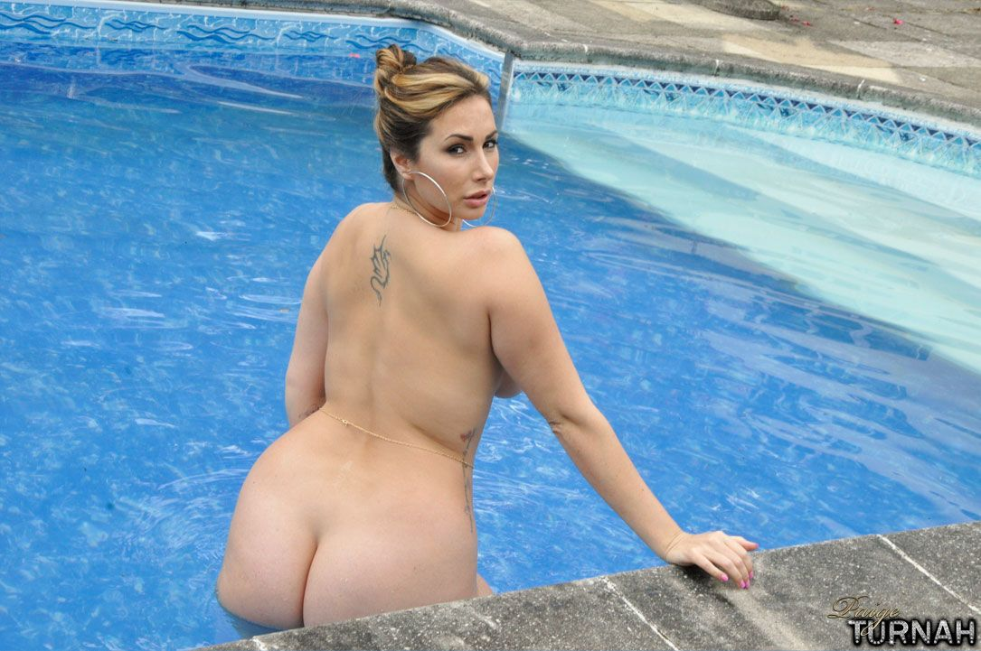 BBW MILF Paige Turnah flaunts her fat ass in and out of swimming pool