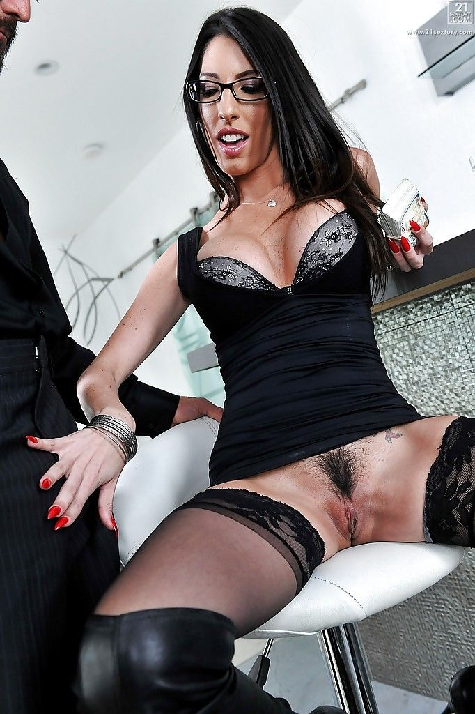 Busty brunette mom Dava Foxx jerking cock in high boots and glasses