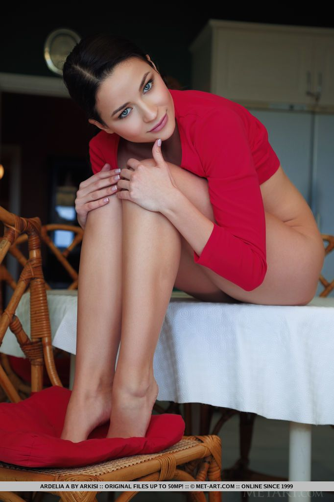 Leggy brunette babe Ardelia A flaunting shaved pussy during glamour shoot