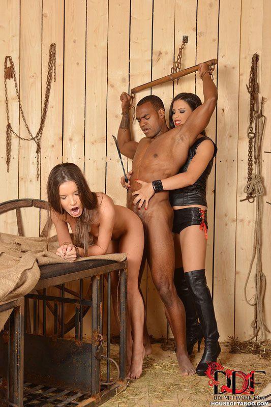 Hardcore interracial BDSM sex on farm with Anita Berlusconi & Mira Cuckold