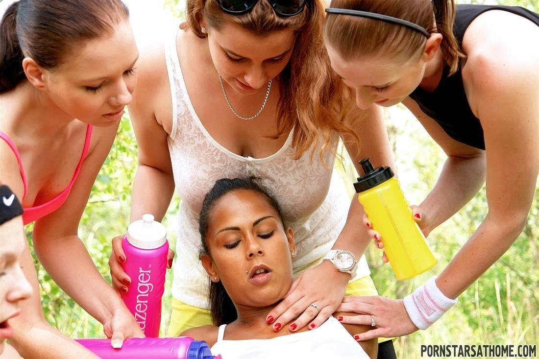 Friends of hot ebony teen help her fuck in outdoor CFNM reverse gangbang