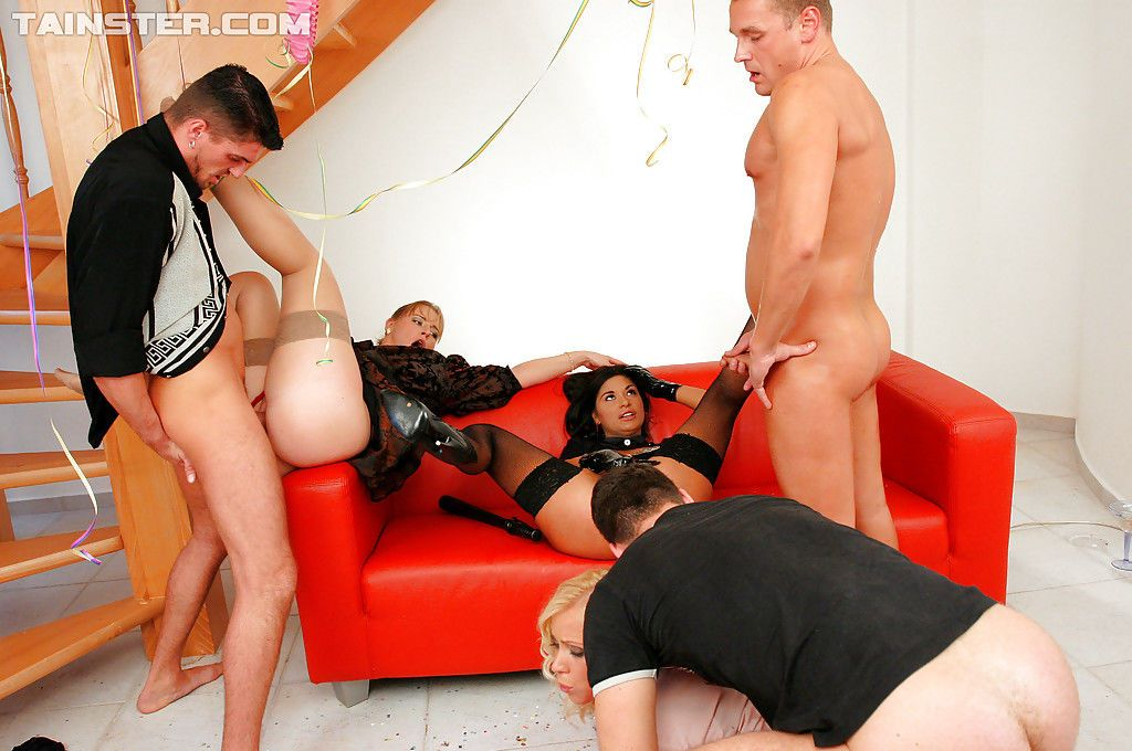 Lecherous fetish gals have some pissing fun at the house groupsex party