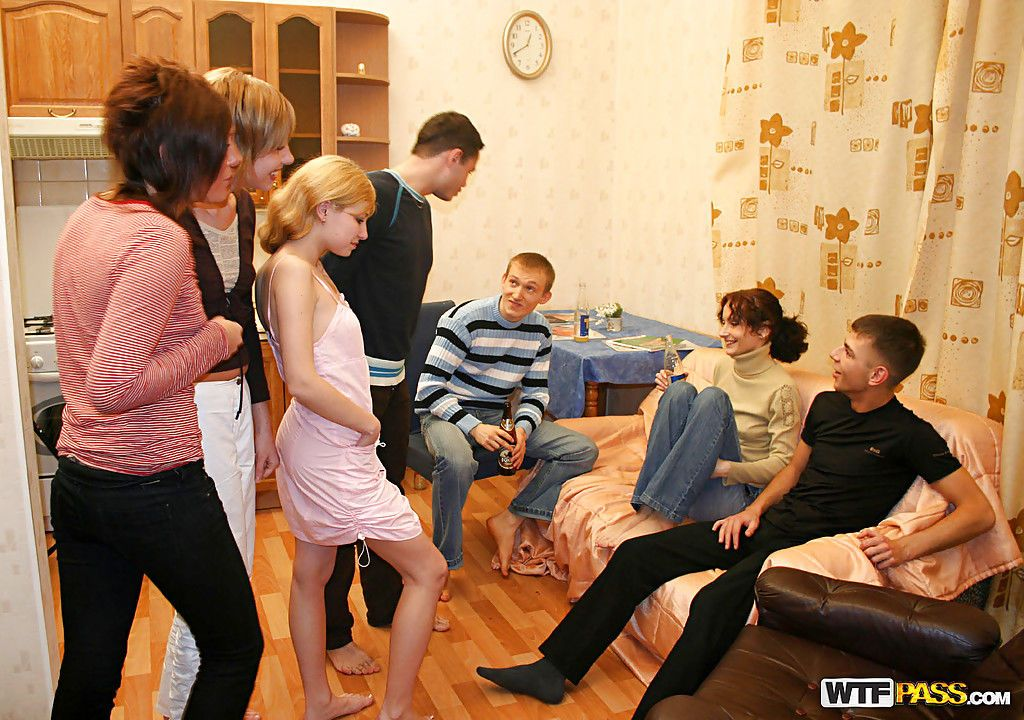 Lustful teenage doxies have some dirty fun at the groupsex party