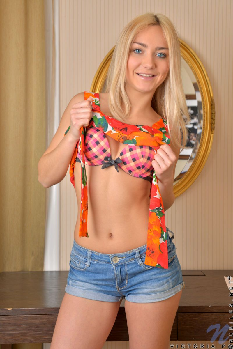 Blonde college girl Victoria P strips naked to pay for upcoming tuition fees