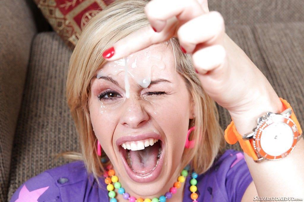 Blond girl Tara Lynn Foxx taking jism on face from big dick in argyle socks