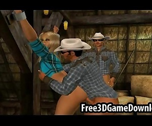 Horny 3d cartoon cowgirl takes on two studs at the barn -..
