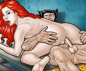 Leandro Comics Jean Grey cannot resist Logans cock