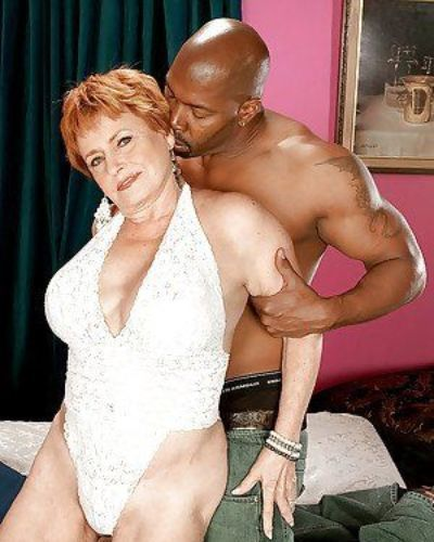 Interracial hardcore sex with horny redheaded granny in white underwear
