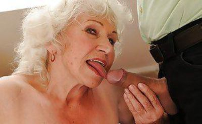 Jizz-starving granny in stockings gives head and gets shagged hardcore