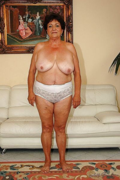 Fatty granny in lingerie gets naked to show her wet cunt - part 2