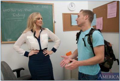 Slutty mature teacher Julia Ann sucks and fucks a students cock