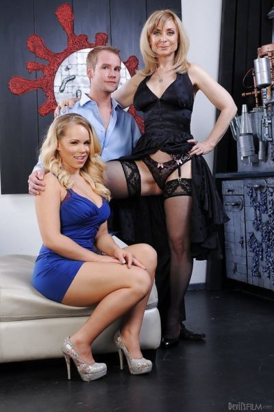 Nina Hartley & Britney Young have a groupsex with a horny guy